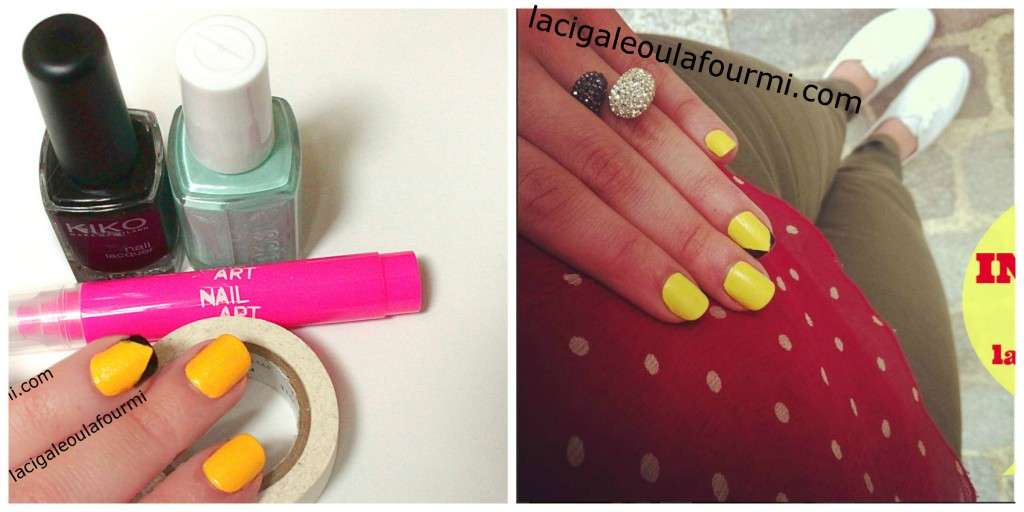 chevrons, nail art, yellow, lacigaleoulafourmi, photo3)