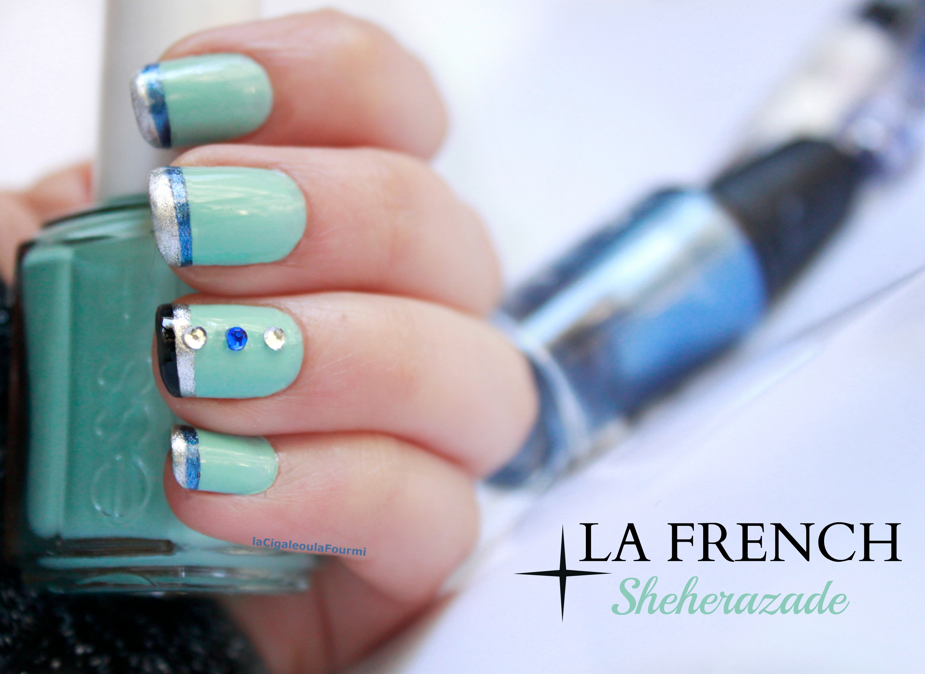 french manucure, idée nail art, ongles, vernis, essie, sheherazade