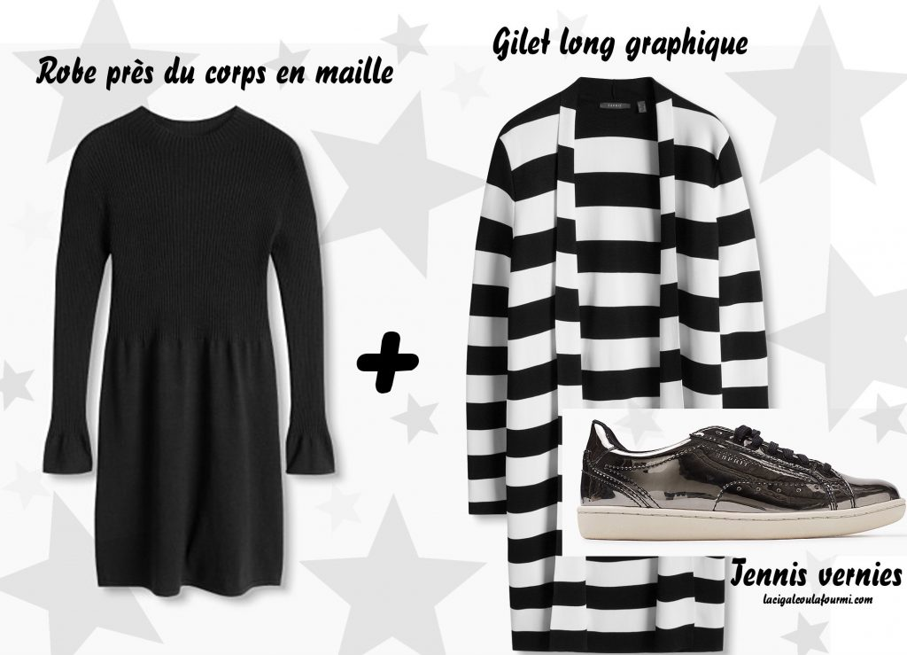 idée tenue, tenue graphique, gilet long, tennis vernies