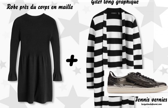 tenue graphique, gilet long, tennis vernies